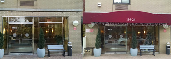 Continuing our Beautification program we have replaced the old shabby worn out awning, with a brand new one.